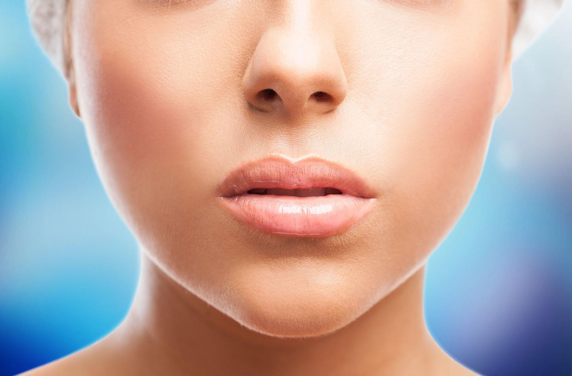 closeup of a cute young woman lips